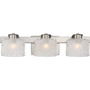 Platinum Collection Seaview Brushed Nickel Three-Light LED Vanity with Clear Glass Outside