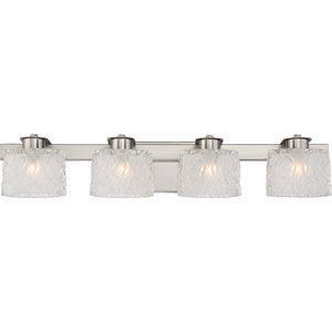 Platinum Collection Seaview Brushed Nickel Four-Light LED Vanity with Clear Glass Outside
