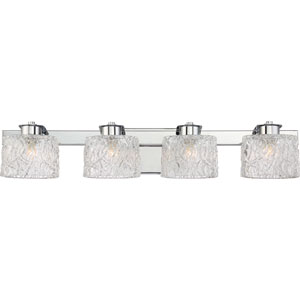 Platinum Collection Seaview Polished Chrome Four-Light LED Vanity with Clear Glass Shade