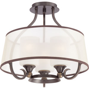 Palmer Palladian Bronze Three Light Semi-Flush Mount
