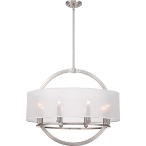 Portland Brushed Nickel Eight Light Pendant