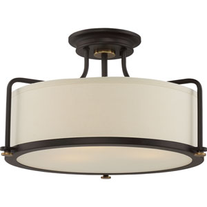 Western Bronze Three-Light Semi Flush Mount