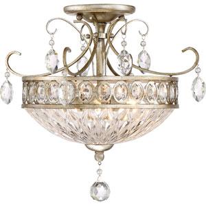 Emma Vintage Silver 17-Inch Three-Light Semi-Flush Mount