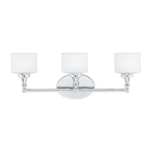 Quinton Polished Chrome Three-Light LED Vanity with Opal Etched Glass