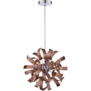 Ribbons Satin Copper 12-Inch Three-Light Pendant
