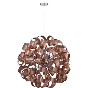 Ribbons Bronze with Gold 31-Inch Height Twelve-Light Interior Pendant