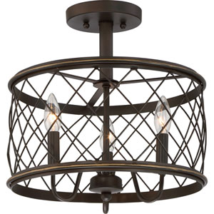 Dury Palladian Bronze 14.5-Inch Three-Light Semi Flush Mount