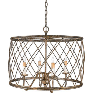Dury Century Silver Leaf Four-Light Pendant