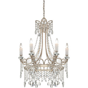 Tricia Vintage Silver Six-Light Chandelier