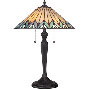 Tiffany Resin 16-Inch Two-Light Table Lamp