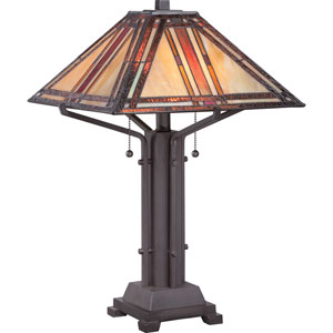 Tiffany Western Bronze Two Light Table Lamp