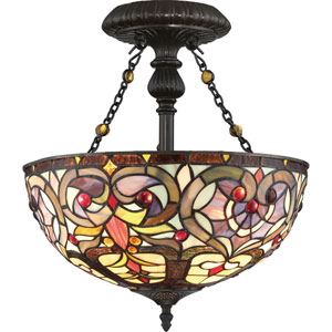 Tiffany Vintage Bronze Two-Light Semi Flush Mount