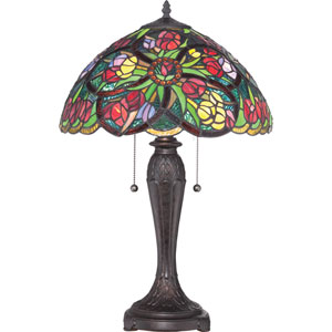 Tiffany Distressed Oil Rubbed Bronze Sixteen-Inch Table Lamp