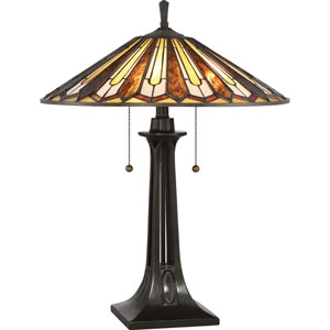 Tiffany Vintage Bronze Two-Light Table Lamp