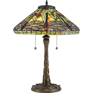 Tiffany Architectural Bronze 24-Inch Two-Light Table Lamp