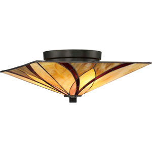 Asheville Valiant Bronze 15-Inch Two-Light Flush Mount