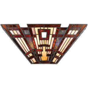 Classic Craftsman Valiant Bronze and Multi-Colored Glass Wall Sconce