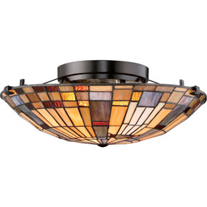 Inglenook Valiant Bronze 16.5-Inch Two-Light Flush Mount