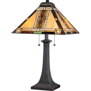 Navajo Valiant Bronze 25-Inch Two-Light Table Lamp