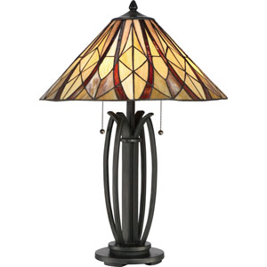Victory Valiant Bronze 18-Inch Two-Light Table Lamp