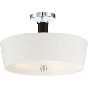 Taper Polished Chrome 16-Inch Three-Light Semi-Flush Mount