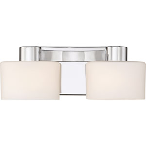Tatum Polished Chrome 13-Inch Two-Light Bath Light
