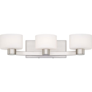 Tatum Brushed Nickel Three-Light LED Vanity with Opal Etched Glass