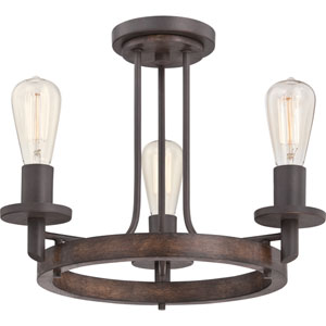 Tavern Darkest Bronze Three Light Semi-Flush Mount