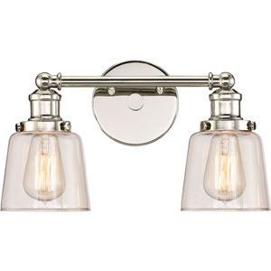 Union Polished Nickel 15-Inch Two-Light Bath Light