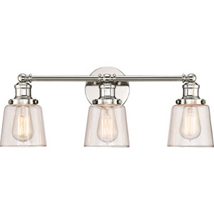 Union Polished Nickel 23-Inch Three-Light Bath Light