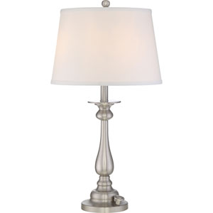 Vivid Kingsley Brushed Nickel Three-Light Table Lamp
