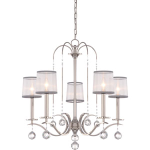 Whitney Imperial Silver Five-Light Chandelier