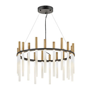 Echo Black and Heritage Brass LED Single Tier Pendant