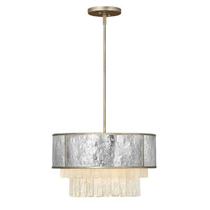 Reverie Champagne Gold Four-Light Chandelier with Hammered Stainless Steel Shade