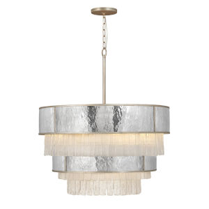 Reverie Champagne Gold 12-Light Chandelier with Hammered Stainless Steel Shade