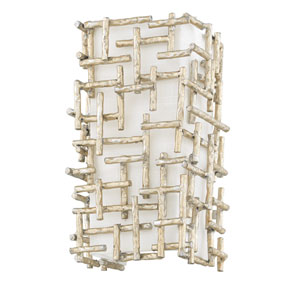 Farrah Silver Leaf Two-Light Wall Sconce with White Linen Shade