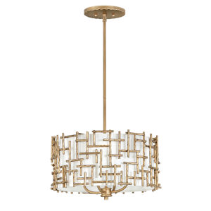 Farrah Burnished Gold Four-Light Chandelier with White Linen Shade