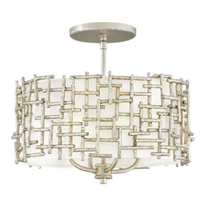 Farrah Silver Leaf Four-Light Drum Pendant with White Linen Shade