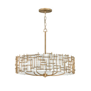 Farrah Burnished Gold Six-Light Chandelier with White Linen Shade