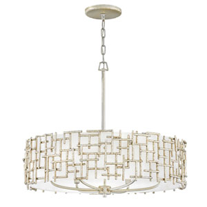 Farrah Silver Leaf Six-Light Drum Pendant with White Linen Shade