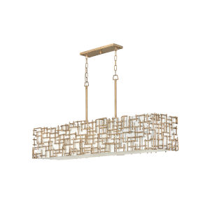 Farrah Burnished Gold Eight-Light Chandelier with White Linen Shade