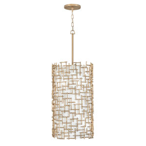 Farrah Burnished Gold Nine-Light Pendant with White Linen Shade