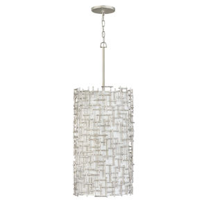 Farrah Silver Leaf Nine-Light Pendant with White Linen Shade