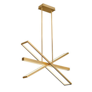 Tangent Lacquered Brass 36-Inch LED Chandelier