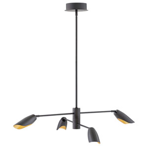 Bowery Black Four-Light LED Title 24 Chandelier
