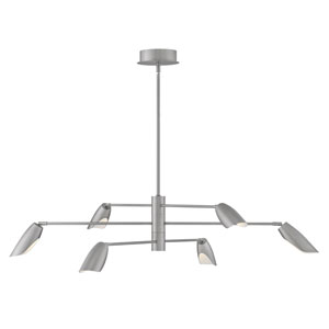 Bowery Brushed Nickel Six-Light LED Title 24 Chandelier