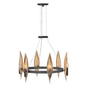 Willow Carbon Black with Deluxe Gold Six-Light Chandelier