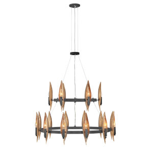 Willow Carbon Black with Deluxe Gold 18-Light Chandelier