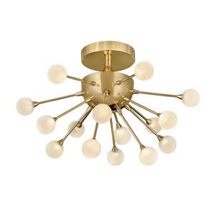 Impulse Polished Gold 15-Inch 15-Light LED Semi-Flush Mount