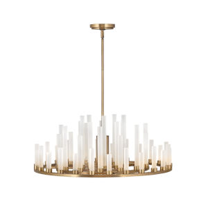 Trinity Heritage Brass LED Chandelier with Frosted Glass